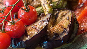 Appetizing grilled vegetables tomatoes pepper and stock video
