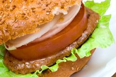 Appetizing hamburger close-up. Fast food series. Appetizing hamburger close-up. Studio shot Stock Image