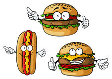 Appetizing hamburgers and hot dog cartoon. Funny hamburgers and hot dog cartoon characters with appetizing patties, sausage, vegetables, cheese and mustard stock illustration