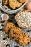 Appetizing homemade cookies with raisins. Stock Photo