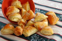 Appetizing homemade pastry. Appetizing homemade baked cheese pastry on red plate Royalty Free Stock Photo