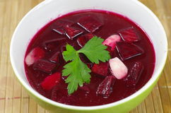 Appetizing hot beetroot soup Royalty Free Stock Image
