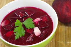 Appetizing hot beetroot soup Stock Photos