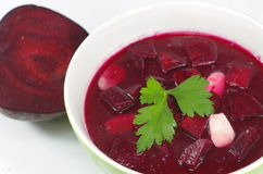 Appetizing hot beetroot soup Royalty Free Stock Photo