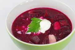 Appetizing hot beetroot soup Royalty Free Stock Images