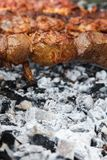 Appetizing hot Shish kebab roasting on the grill on metal skewers. BBQ party. stock photography