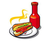 Appetizing hotdog with ketchup Royalty Free Stock Image