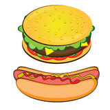 Appetizing Hotdog and Sandwich. Royalty Free Stock Images