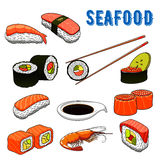 Appetizing japanese sushi and rolls seafood Stock Photography
