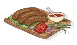 Appetizing kebab served with ajika sauce and vegetables. Tasty meal of Georgian cuisine isolated on white background. Delicious Caucasian dish lying on wooden stock illustration