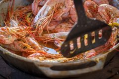 Appetizing large shrimps in the sauce lie in a frying pan.  royalty free stock image