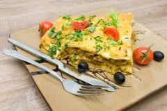 Appetizing lasagna on a plate closeup Stock Images