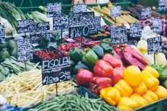 Vienna market stalls. Appetizing market stalls in Vienna`s famous Naschmarkt Royalty Free Stock Photos