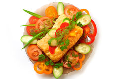 Appetizing meat pie with vegetables Stock Image