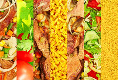 Appetizing meat and vegetable images collage. Royalty Free Stock Images
