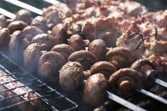 Appetizing mushrooms close-up on the grill on the background of roasting kebab stock photo