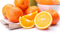 Appetizing oranges on plate Stock Photo