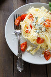 Appetizing pasta with cheese and tomato Royalty Free Stock Images