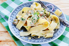 Appetizing pasta with mushroom sauce Royalty Free Stock Images
