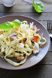 Appetizing pasta with mussels and squid Royalty Free Stock Photos