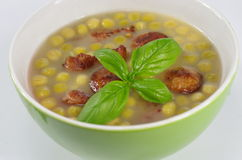 Appetizing pea soup Stock Photos