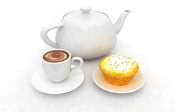 Appetizing pie and cup of coffee Stock Photos