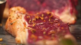 Appetizing piece of meat sprinkled with salt and pepper stock footage
