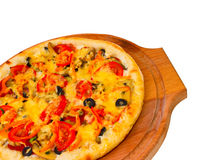 Appetizing pizza with cheese on wooden tray, Royalty Free Stock Images