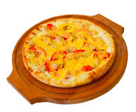 Appetizing pizza with cheese wooden tray, close-up Royalty Free Stock Image
