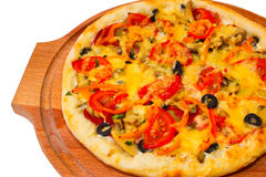 Appetizing pizza with cheese on wooden tray Stock Photography