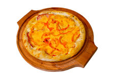 Appetizing pizza cheese wooden tray isolated on Royalty Free Stock Photo