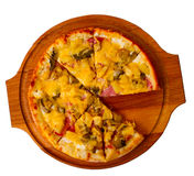 Appetizing pizza cheese on wooden tray isolated Stock Images