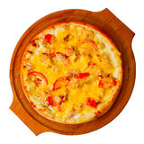 Appetizing pizza with cheese on wooden tray Royalty Free Stock Photography