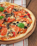 Appetizing pizza with chicken Stock Photo