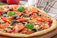 Appetizing pizza with chicken Royalty Free Stock Photos