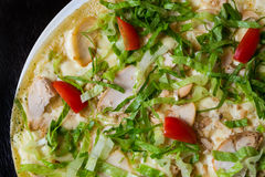 Appetizing pizza with meat of chicken Stock Images
