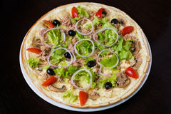 Appetizing pizza with meat of chicken. Appetizing pizza with mozzarella cheese and meat of chicken Stock Photography