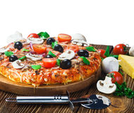 Appetizing pizza with mushrooms. Isolated on white Royalty Free Stock Photo