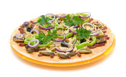 Appetizing pizza on a plate on a white background Stock Photography