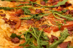 Appetizing pizza with sausage and arugula royalty free stock images