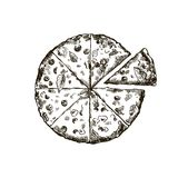 Appetizing pizza on a white background Royalty Free Stock Photo