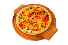 Appetizing pizza with wooden tray cheese close up Royalty Free Stock Photography