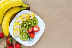 Appetizing plate of fresh fruits Stock Photo