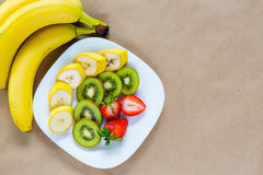 Appetizing plate of fresh fruits Stock Images