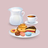 Appetizing plate with pastries and sweets, a jug of milk, a cup of coffee Stock Photo