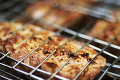 Appetizing pork-grill. On a lattice of a mangal in summer day Stock Photo