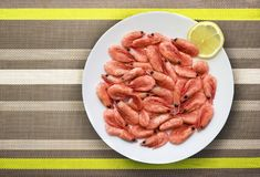 Sea shrimp on the plate royalty free stock images