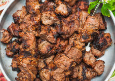 Appetizing roast meat shish kebab Stock Photo