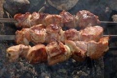 Appetizing roasted shish kebab (shashlik). stock photos