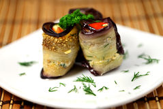 Appetizing Rolls of aubergines Stock Photography